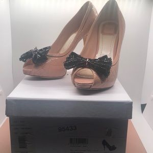 Christian Dior Pink Lace quilted Bow Heel